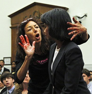 ... U.S. Secretary of State Condoleezza Rice at a Capitol Hill hearing.