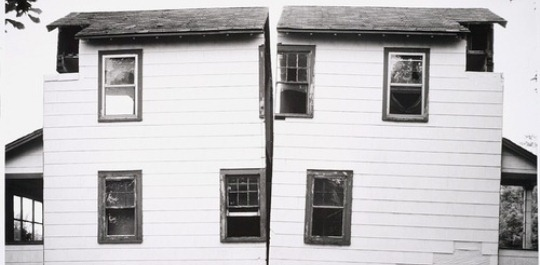 Divided house in black and white
