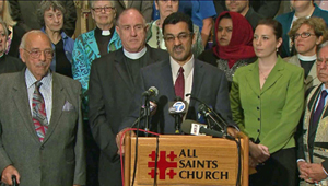 Press Conference at All Saints Episcopal Church (credit: KTLA TV)