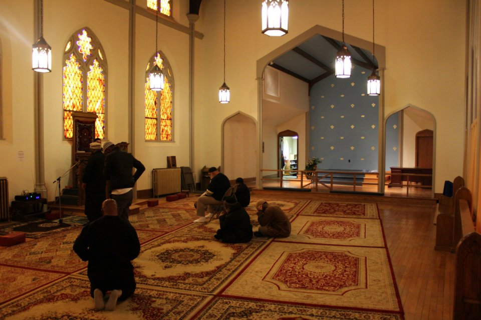 Friday prayers are held at the former site of Church of the Good Shepherd, now an Islamic awareness center in Binghamton, NY. (Photo: Raymond Dague)