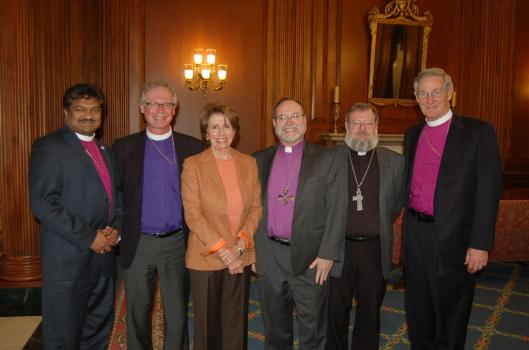 Lutheran and Episcopal Church bishops meet with House Minority Leader Nancy Pelosi on Capitol Hill.