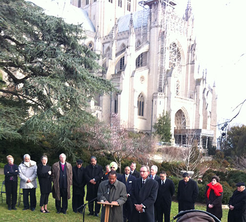 Former NCC President Michael Livingston and New Evangelical Partnership President Richard Cizik call for more restrictive gun control measures during a press conference of interfaith officials on December 21 at Washington National Cathedral.