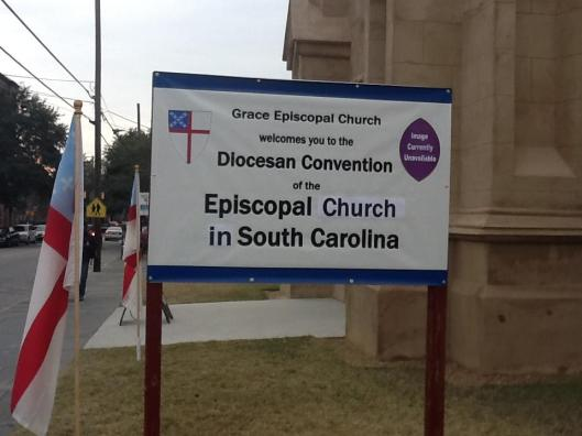 Sign outside the rump diocese meeting (Photo Credit: IRD/Bart Gingerich)