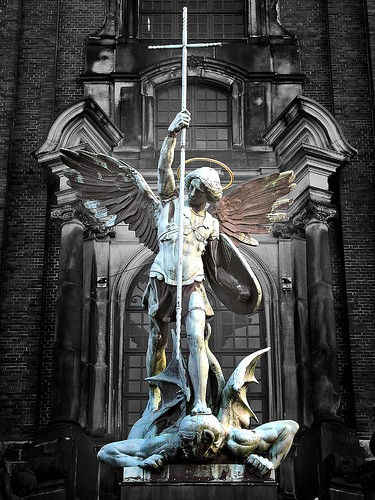 Statue of St. Michael's Victory over Satan at St. Michael's Church in Hamburg, Germany, a church not slated for conversion at this time.
