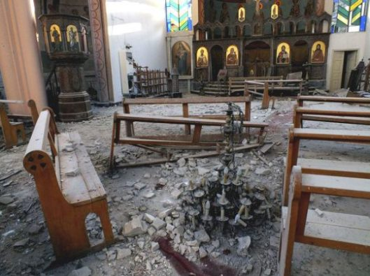 A Syrian church lays in waste after fighting