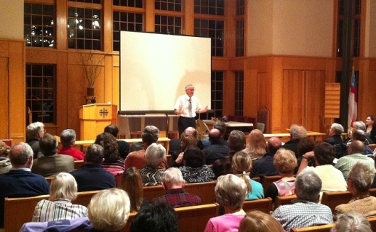 """Resurrection """"can't just be about Jesus,"""" and has to do with dying to Roman culture, according to former Jesus Seminar President Dominic Crossan at a recent lecture held at Holy Cross Episcopal Church in suburban Washington, D.C. (photo: Jeff Walton / IRD)"""