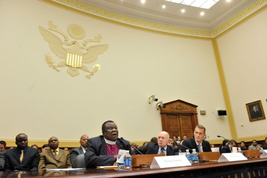 In 2012, United Methodist Bishop Ntambo Nkulu Ntanda (front left) testifies before a U.S. House foreign affairs subcommittee asking the U.S. government to help end conflict in eastern Congo. (Photo Credit: United Methodist News Service)