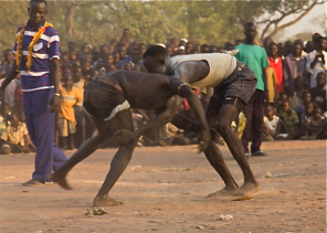 Nuba wrestlers in refugee camp