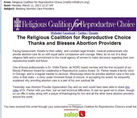 Religious Coalition for Reproductive Choice email on abortion
