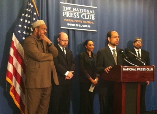 Officials from four national Muslim groups speak on the Boston attacks at a press conference Friday, April 19th at the National Press Club in Washington, D.C.