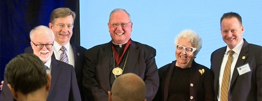 Cardinal Dolan receives the Wilberforce Award for 2013. (From left) Dr. Timothy George, Chairman of the Board, Chuck Colson Center for Christian Worldview; Alan Terwilleger, Colson Center President; His Eminence, Timothy Cardinal Dolan, Archbishop of New York; Patty Colson, wife of Chuck Colson (1931-2012), founder; and Jim Liske, CEO of Prison Fellowship Ministries. (Photo Credit: The Chuck Colson Center for Christian Worldview)