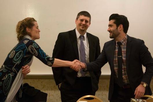 From left: Holzer, Nephew, and Abdi. (Photo Credit: Ecumenical Advocacy Days)