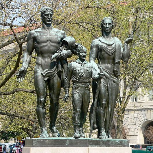 "The Boy Scout Memorial in Washington, DC. ""[The Scout] is flanked by two much larger allegorical figures of a man and a woman representing American Manhood and Womanhood and the ideals of the past which they will pass onto the youth."" O tempora! O mores! (Photo Credit: Wikipedia/Ken Thomas)"