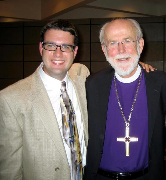 """Bishop Mark Hanson (right), Presiding Bishop of the ELCA, with Brach Jennings, a member of Proclaim, the self-described """"professional community for publicly identified LGBTQ Lutheran rostered leaders and seminarians.""""  (Photo credit: Extraordinary Lutheran Ministries)"""