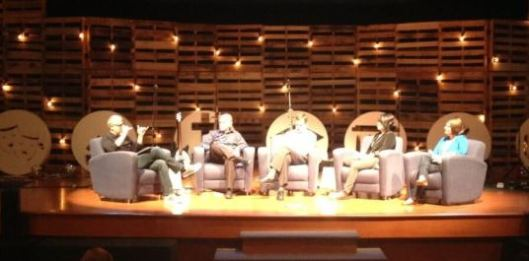 """(Rod Stafford, Mike Summers, Curt Thompson, Aly Hawkins, and Rachel Held Evans discuss """"Embracing Doubt."""" Credit: Fairfax Community Church)"""