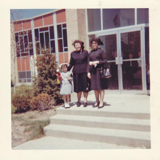 Me, my Mom, and my sister Nancy, In front of The Salvation Army in Niagra Falls, NY. (Photo credit: Faith McDonnell)