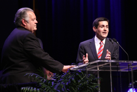 Russell Moore (right), the new president of the Ethics and Religious Liberty Commission explains that the ERLC will support principles, rather than specific legislation. President Emeritus Richard Land (left) led the commission for 25 years. (Photo credit: Illinois Baptist Briefing)