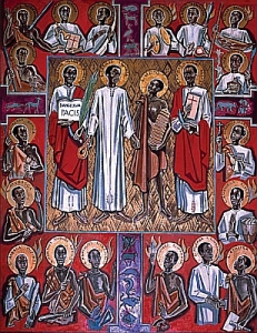 A holy card of the Martyrs of Uganda based on a painting by Albert Wider, 1962, Generalate of the Missionaries of Africa. (Photo credit: Saints.SQPN.com)