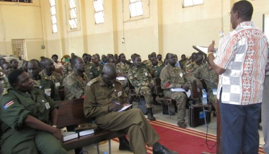 Rwandan Genocide survivor Celestin Musekura speaks to South Sudan military and police chaplains about forgiveness. (Photo credit: Micah Mandate, Trevecca Nazarene University)