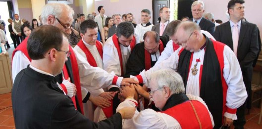 The Right Reverend Royal U. Grote (presiding), the Right Reverend Paul Hunt, and the Right Reverend Gerhard Meyer consecrate Jasmin Milić as bishop and ordain several ministers in Croatia. (Photo Credit: Christ the Redeemer Anglican Church Zagreb)
