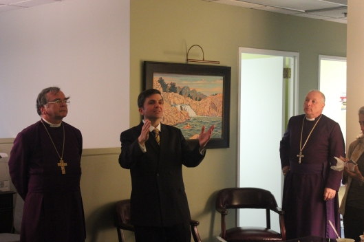 Bishop Sutton (right) at the IRD office during the 2013 March for Life, alongside Archbishop Robert Duncan (left) and IRD Presiden Mark Tooley (center).
