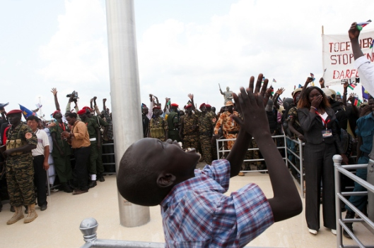 Rejoicing in the new nation of South Sudan, July 9, 2011. (Photo credit: Sara Fajardo, Catholic Relief Services)